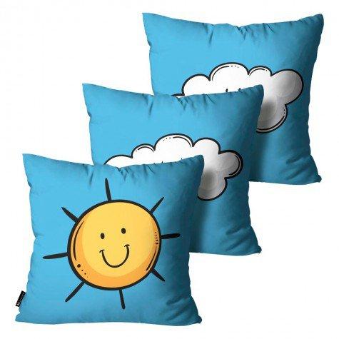 b9ed9b306d3a0a Kit com 3 Capas para Almofadas Infantis Sol Azul