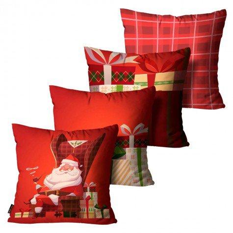 c4751a9930d6b5 Kit 4 Capas para Almofadas Mdecore Natal Papai Noel Vermelha