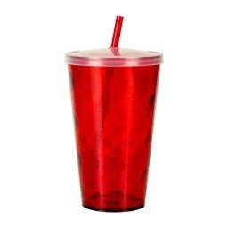 copo 700ml twister ondulado com tampa e canudo vermelho COP7001