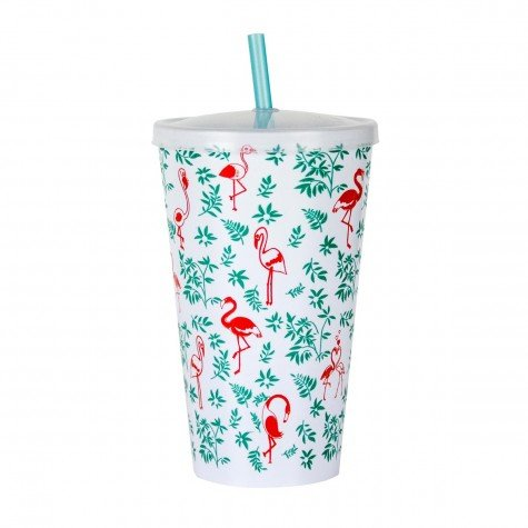 copo 700ml conico estampada flamingo com tampa e canudo branco cop7008