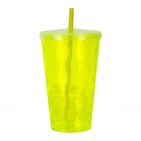 copo 700ml twister ondulado com tampa e canudo neon amarelo cop7004