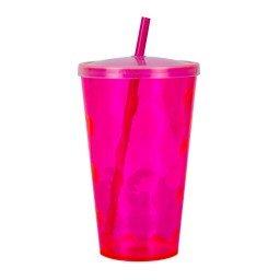 copo 700ml twister ondulado com tampa e canudo neon pink cop7003