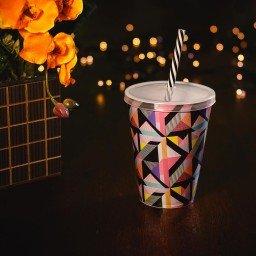 copo 500ml com tampa e canudo mdecore geometrico colorido 65