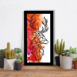 quadro alto relevo alce geometrico laranja mdecore qar0019 4