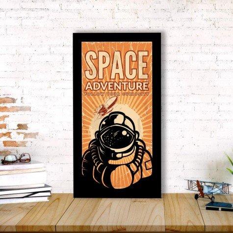 quadro alto relevo astronauta frase laranja mdecore qar0048 4