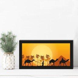 quadro alto relevo camelos coqueiros piramdes laranja mdecore qar0013 4