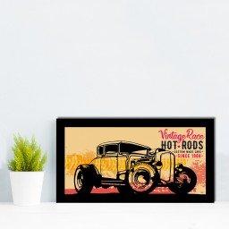 quadro alto relevo carros vintage frase laranja mdecore qar0056 4