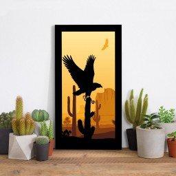 quadro alto relevo aguia cactos deserto laranja mdecore qar0011 4