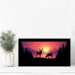 quadro alto relevo cervo arvore floresta colorido mdecore qar0002 4