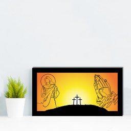 quadro alto relevo cruz jesus laranja mdecore qar0029 4