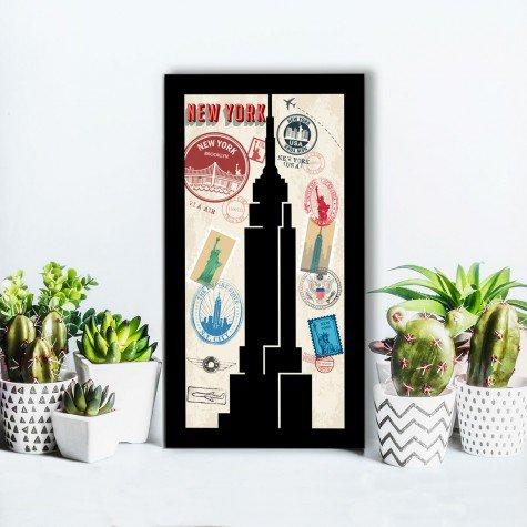 quadro alto relevo empire state new york selo correios colorido mdecore qar0017 4