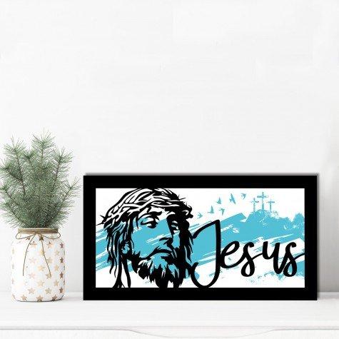quadro alto relevo face jesus azul mdecore qar0046 4