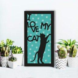quadro alto relevo frase i love my cat verde mdecore qar0033 4