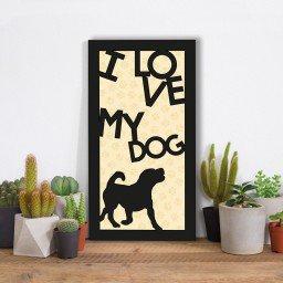 quadro alto relevo frase i love my dog bege mdecore qar0034 4