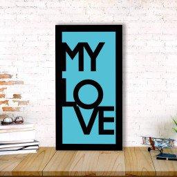 quadro alto relevo frase my love azul mdecore qar0031 4