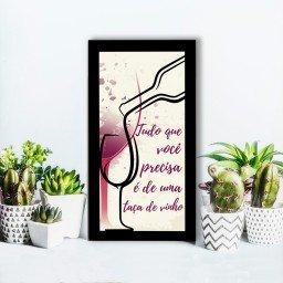 quadro alto relevo frase taca vinho bege mdecore qar0036 4