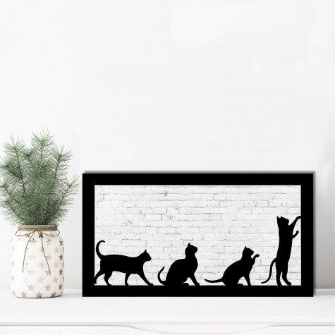 quadro alto relevo gatos branco mdecore qar0039 4