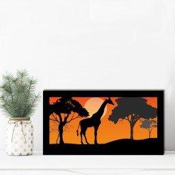 quadro alto relevo girafa arvores laranja mdecore qar0005 4