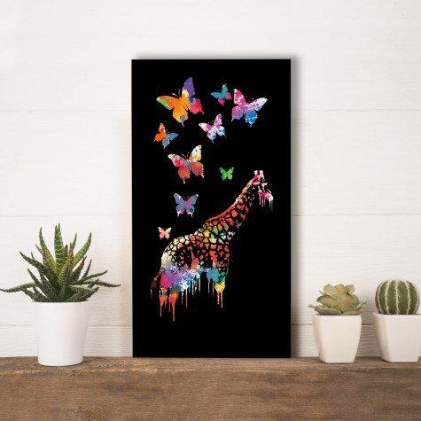 quadro alto relevo girafa borboleta abstrato colorido mdecore qar0037 4