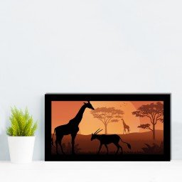 quadro alto relevo girafa cabra floresta arvore laranja mdecore qar0004 4