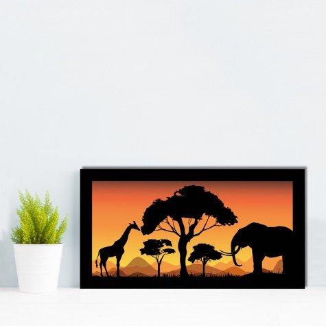 quadro alto relevo girafa elefante arvores floresta laranja mdecore qar0015 4