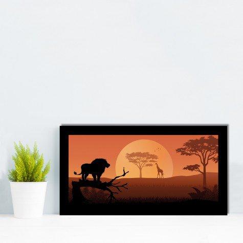 quadro alto relevo leao girafa arvore laranja mdecore qar0007 4