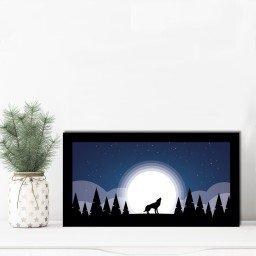 quadro alto relevo lobo arvores lua azul mdecore qar0006 4