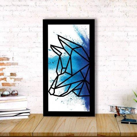 quadro alto relevo lobo geometrico azul mdecore qar0020 4
