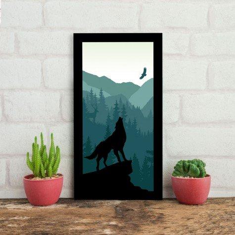 quadro alto relevo lobo montanhas arvores aguia verde mdecore qar0012 4
