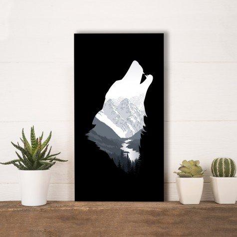 quadro alto relevo lobo uivando montanhas preto mdecore qar0027 4
