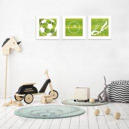 quadro decorativo mdf infantil bola campo chiteira futebol verde branco mdecore pqar0001 kit mk 2