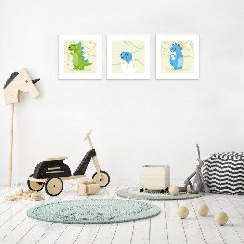 quadro decorativo mdf infantil dinossauro bege branco mdecore pqar0003 kit mk 3