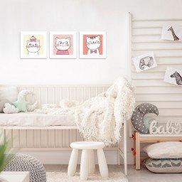 quadro decorativo mdf infantil gatos rosa mdecore pqar0005 kit mk 2