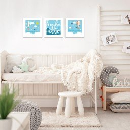 quadro decorativo mdf infantil balao frase azul mdecore pqar0006 kit mk 2