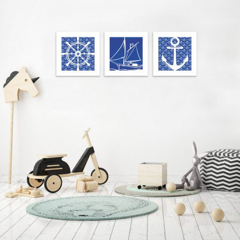 quadro decorativo mdf infantil marinheiro ancora barco azul mdecore pqar0008 kit mk 2