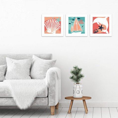 quadro decorativo mdf concha barco golfinho colorido mdecore pqar0009 kit mk 2