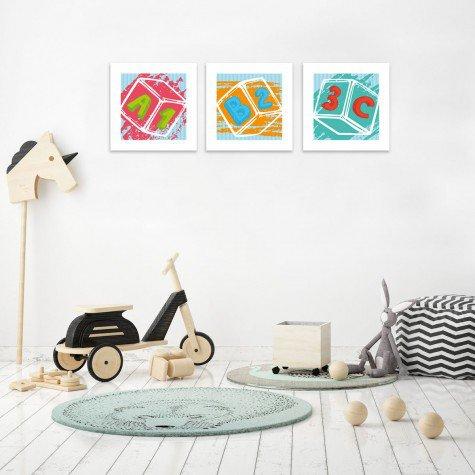 quadro decorativo mdf infantil dado colorido mdecore pqar0010 kit mk 2
