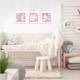 quadro decorativo mdf infantil elefante rosa mdecore pqar0012 kit mk 2