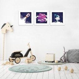 quadro decorativo mdf infantil foguete planeta astronauta mdecore pqar0013 kit mk 2