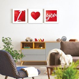 quadro decorativo mdf coracao vermelho mdecore pqar0014 kit mk 2