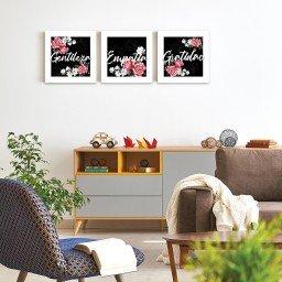 quadro decorativo mdf flores gentileza empatia gratidao preto mdecore pqar0015 kit mk 2