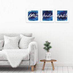 quadro decorativo mdf paz amor familia azul mdecore pqar0017 kit mk 2