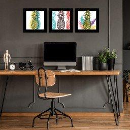 quadro decorativo mdf abacaxi colorido mdecore pqar0022 kit mk 2