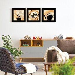 quadro decorativo mdf xicara cafe bule bege mdecore pqar0023 kit mk 2