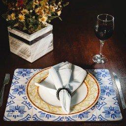 kit jogo americano azulejo portugues azul guardanapo branco portaguardanapo mdecore kjg0004