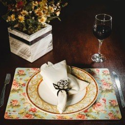 kit jogo americano floral colorido guardanapo bege portaguardanapo mdecore kjg0007