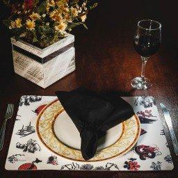 kit jogo americano oriental branco guardanapo preto portaguardanapo sushi mdecore kjg0008