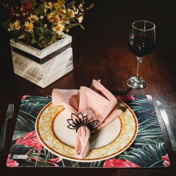 kit jogo americano folhas flamingos verde guardanapo rosa portaguardanapo mdecore kjg0010