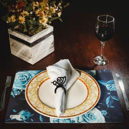 kit jogo americano floral azul guardanapo branco portaguardanapo borboleta mdecore kjg0011