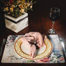 kit jogo americano floral cinza guardanapo rosa portaguardanapo rosa mdecore kjg0013